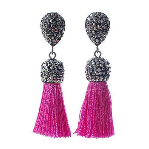 (Xiaocao8 Women's Dangle Drop Short Tassel Earrings with Shell Pearl Black Rhinestone Top (Dark Pink with WB))