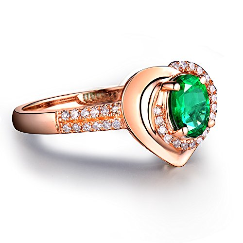 - Beyond jewelry Fashion Solid 14K Rose Gold Natural Oval 4x6mm Green Emerald Brilliant Diamond Ring for Women