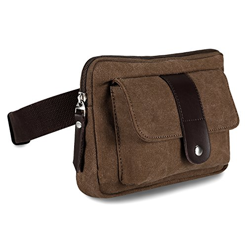 Ibagbar Small Fashion Multifunction Vintage Canvas Waist Bag Fanny Pack Running Pack Outdoor Bag Sporting Bag Cycling Leisure Bag with Detachable Belt for Men and Women (Canvas Waist Belt)