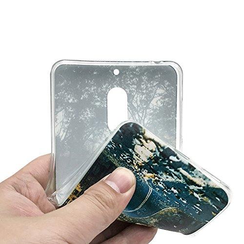 Funda Nokia 6,EUDTH Suave TPU Gel Funda Case Delgado Silicona Fundas Carcasa Espalda para Nokia 6 (5.5 Pulgadas) Flamencos Deciduous
