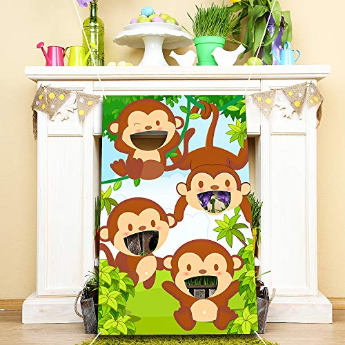 Blulu Jungle Animals Bean Bag Toss Games with 3 Bean Bags Forest Theme Party Games Decoration for Children Baby Shower Family Jungle Animals Theme Party Favor Supplies]()