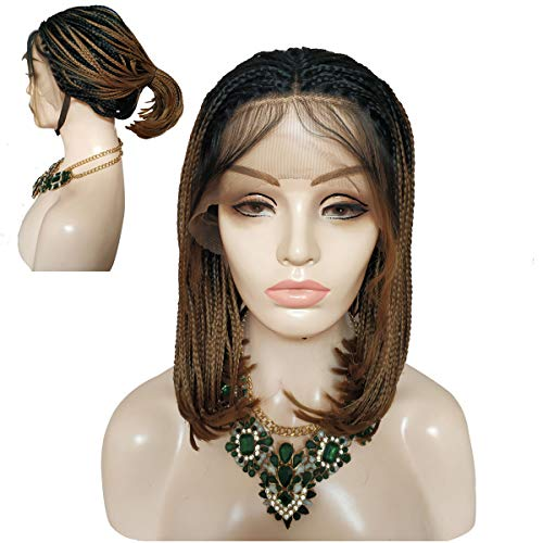 Full Hand Made Braided Lace Wigs Brown Hair Lace Front Wig Braids Synthetic Glueless Heat Resistant Micro Full Cornrows Braid Wigs with Middle Part Baby Hair for Daily Wear Black Women wigs