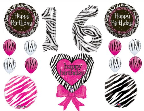 ZEBRA PRINT SWEET 16 16th Happy Birthday PARTY Balloons Decorations Supplies Candyland Saga (Candyland Themed Balloons)