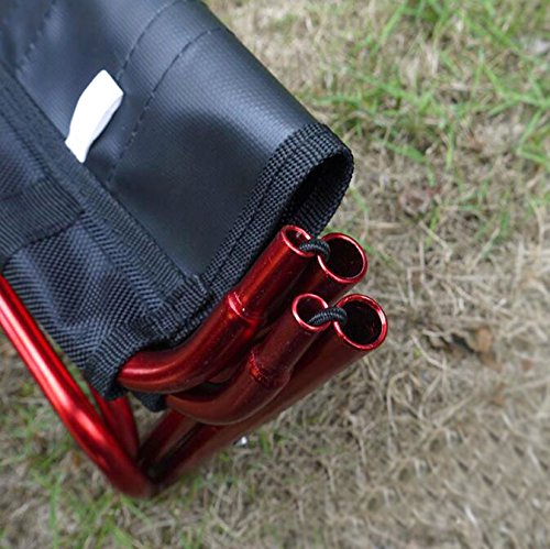 Rojo Lezed Silla port/átil de aluminio plegable,Ultra-ligero port/átil,Taburete plegable compacto,Silla de pesca deportiva,Calidad y estabilidad,F/ácil de llevar