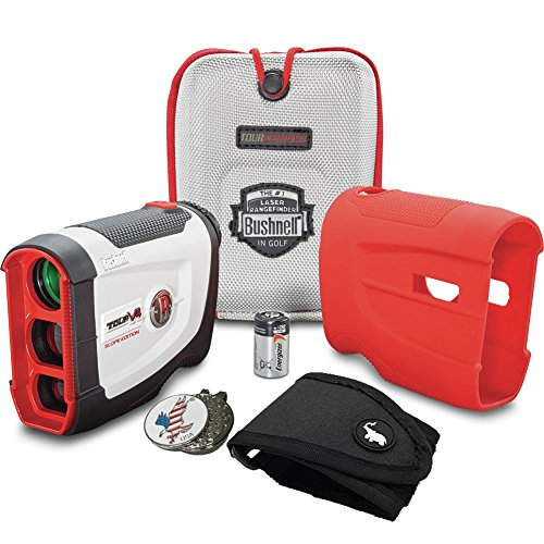 Bushnell BUNDLE Tour V4 Shift Patriot Pack Golf Laser Rangefinder 1 Magnetic Golf Rangefinder Cart Mount Black 1 Custom Ball Marker Clip Set American Eagle