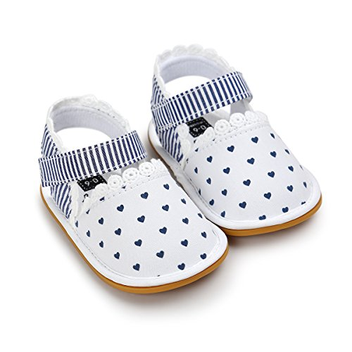 (Sabe Summer Infant Baby Girls Sandals Striped Bowknot Soft Rubber Sole First Walker Shoes (0-6 Months, C-White))