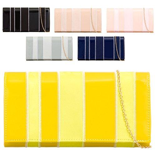 KL753 Handbag Leather Clutch Mix Black Patent Ladies Bag Two Style Envelope Women's Tone Faux Bag 5qOWn7
