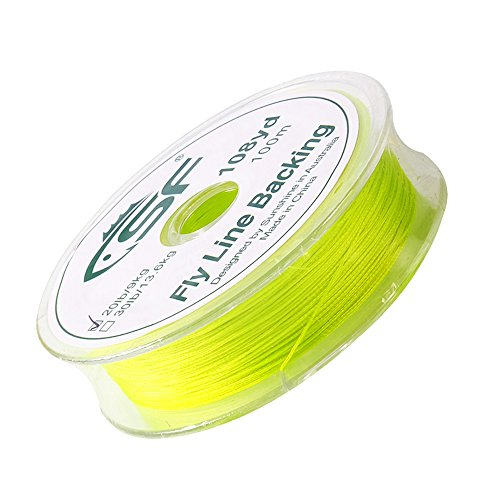 SF Braided Fly Fishing Trout Line Backing Line 20LB 100m/108yds Flour Yellow (Yellow Backing Line Fly)