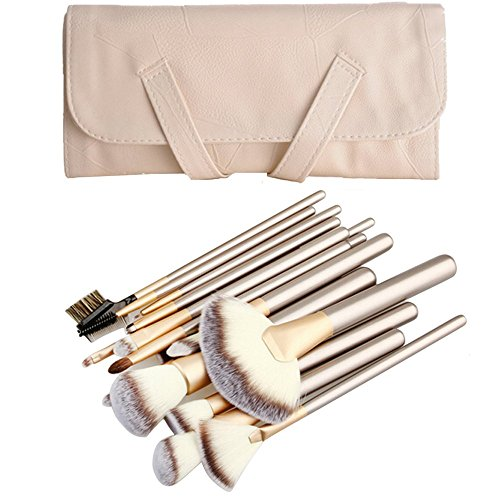 [18 Pcs Makeup Brush Set Professional Wood Handle Cosmetic Makeup Brush Set PU Leather Bag White] (White Makeup No Smudge)