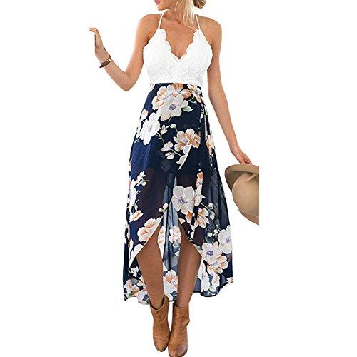 Women Floral Halter Backless Sundress