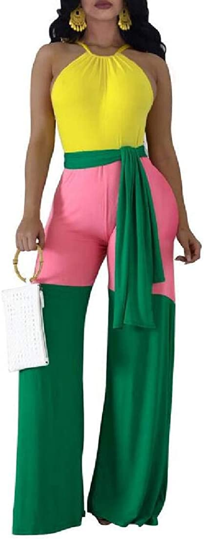 Fubotevic Womens Sleeveless Color Block Halter Crop Top and Wide Leg Pants Set