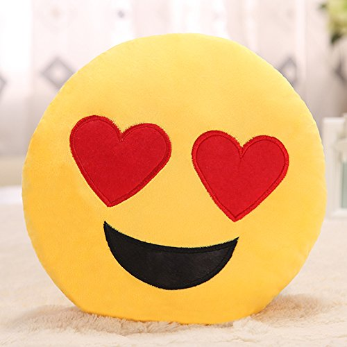 Sealive Emoji Emoticon Cushion Yellow Round Pillow Heart Eye Face Pillow, Soft Stuffed Pillow for Bedroom, Office, Home Furniture,Living Room Decoration, 13.8 inch -