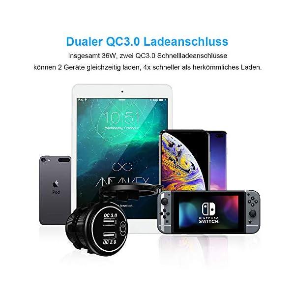 51qBRa1P44L QC3.0 Auto USB Steckdose, SONRU 12V/24V KFZ Ladegerät 36W USB Quick Charge, LED Voltmeter/Schalter/Zigarettenanzünder…