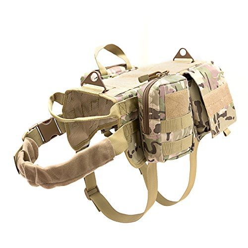 Vevins Dog Tactical Harness Molle Vest Adjustable Service Outdoor Training Harness with 3 Detachable Pouches Camouflage Size L