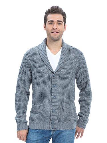 Choies Men's Gray Lapel Button Up Pocket Long Sleeve Cardigan XL
