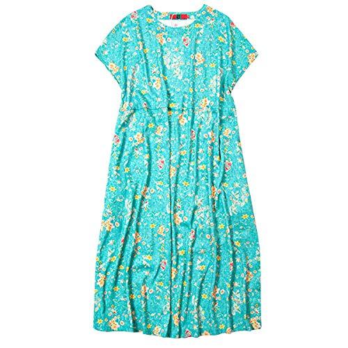 Lose E Grün Feiertagskleid Damen Kurzarm Retro Maxi Baumwolle Q32322 girl Cocktail Party Kleider Kleid 07qrTO0w4x