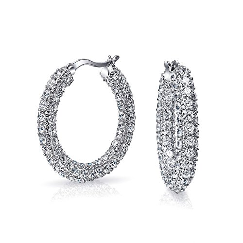 Diamond Encrusted Hoop - Pave CZ Encrusted Round Wide Hoop Earring Rhodium Plated
