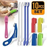 PoshWag Dog / Cat ToothBrush Set Kit [Brighten Your PET'S Teeth] Best Dog Brush Quality Bristles, 6 Finger Brushes for All Dog or CAT Sizes and Breeds [Easy to USE]