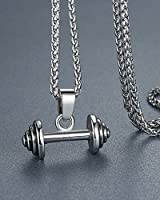 "Men's Stainless Steel Weightlifting Barbell Pendant Necklace, 24"" Link Chain, aap070"