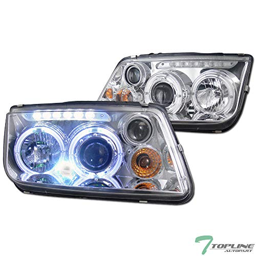 Topline Autopart Chrome Clear Housing Halo LED Projector Headlights With Signal & Build-In Fog Lamps K2 For 99-05 Volkswagen Mk4 Jetta/Bora