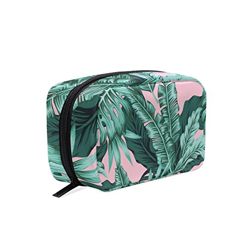 (ALAZA Durable Tropical Leaves Green Seamless Beauty And Make Up Cosmetics Pouch/Bag / Case for Makeup Utensils And Toiletries Twill fabric)