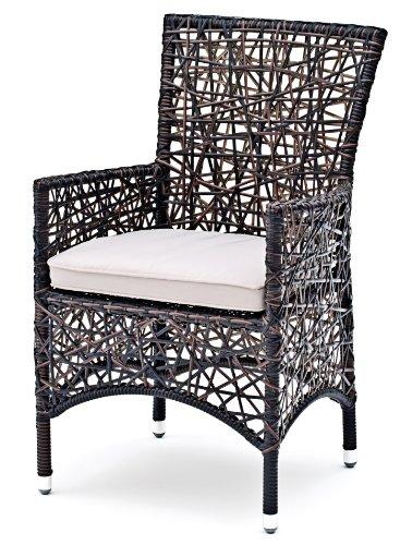 Landmann Timandra Indoor & Outdoor Spiderweb Wicker Armchair with Cushion, black