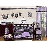 Sweet Jojo Designs Purple and Black Kaylee Girls Boutique Baby Bedding 9 pc Crib Set