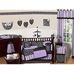 Sweet Jojo Designs Purple and Black Kaylee Girls Boutique Baby Bedding 9 piece Crib Set