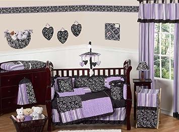 sweet jojo designs 9 piece purple and black kaylee girls boutique baby bedding crib set - Baby Bedding For Girls