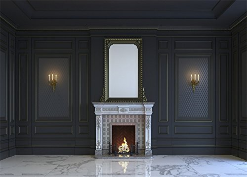 Laeacco 7x5ft European Archiculture Fireplace Backdrop Candles Frame Gloomy Carving Wallpaper Flowers Pattern Marble Floor Interior Photography Background Lover Adults Photo Studio Props