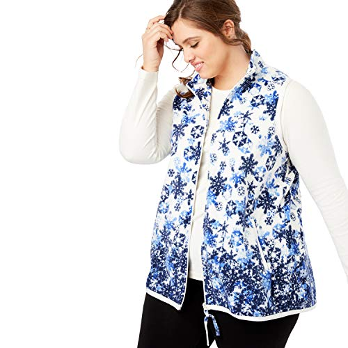 Woman Within Women's Plus Size Zip-Front Microfleece Vest - Floating Snowflake, 1X ()