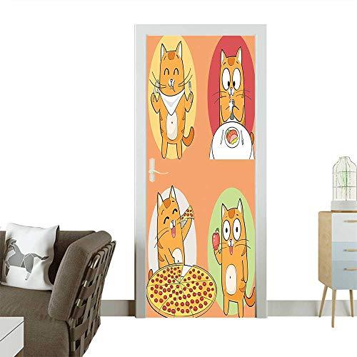 Homesonne 3D Door Decals Cute Cat Cartoon Character Having Food Breakfast Knife Fork Pizza Apple Self Adhesive Door DecalW30 x H80 -