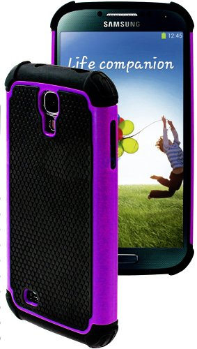 """myLife (TM) Purple and Black - Rugged Design (2 Piece Hybrid Bumper) Hard and Soft Case for the Samsung Galaxy S4 """"Fits Models: I9500, I9505, SPH-L720, Galaxy S IV, SGH-I337, SCH-I545, SGH-M919, SCH-R970 and Galaxy S4 LTE-A Touch Phone"""" (Fitted Back Solid Cover Case + Internal Silicone Gel Rubberized Tough Armor Skin)"""