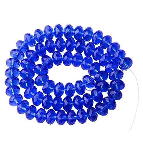 Sapphire Faceted Briolette Bead (PandaHall Elite 60pcs Assorted Briolette Faceted Rondelle Crystal Glass Beads Imitation Austrian Crystal Bead Strands 8x5mm)