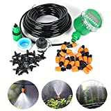 15M (50TF) Automatic Spray Drip Irrigation System Self Watering Garden Hose Kits with 20 Tee Joints Irrigation Timer ,Perfect Micro Irrigation System for Flower Bed, Patio, Garden Greenhouse Plants