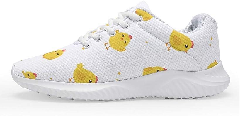 Wraill - Zapatillas de Deporte para Hombre y Mujer, Bonitas Zapatillas Amarillas con diseño de gallina, con cojín de Aire, para Caminar, Correr, etc.: Amazon.es: Zapatos y complementos
