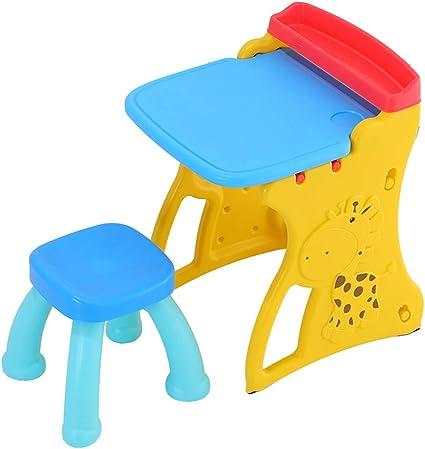 Juegos de mesas y sillas Tablero de Dibujo para niños Mesa de Estudio de educación temprana para niños Graffiti magnético Pizarra de Juguete Escritorio y Silla para niños Tablero de Mensajes: Amazon.es: