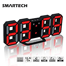 Alarm Clock with Jumbo 3D Digits, Snooze for Heavy Sleeper, 3 Levels of Brightness, Dimmable Night Light, Modern Alarm Clock for Living Room Decor, Office, Hotel (Black/Red)