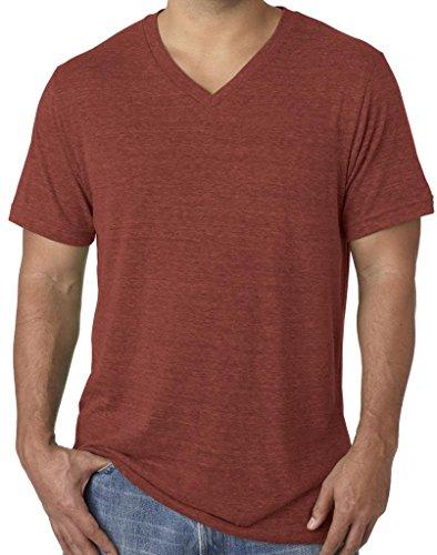 Mens Tri Blend V-Neck Tee Shirt, 2XL Clay
