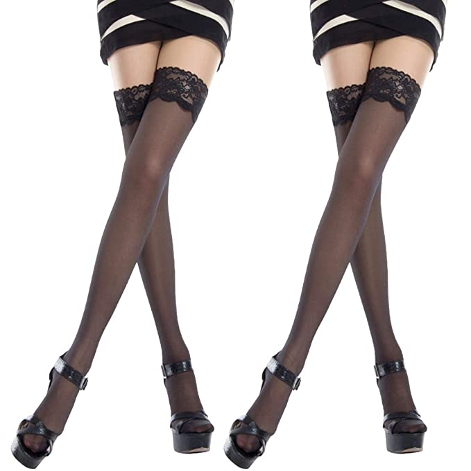 c0ee7f998 Image Unavailable. Image not available for. Color  La Dearchuu 2 Pairs Womens  Thigh High Stockings with Stay up Silicone Lace Top ...