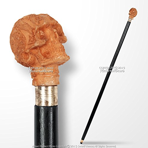 Medieval Gears Brand 36'' Black Solid Wooden Shaft Walking Cane Fantasy Stick with Skull Head Handle by Medieval Gears