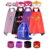 Mizzuco Kids Cartoon Dress up Costumes Satin Capes with Felt Masks and Exclusive Bag for Copslay Birthday Party (4pcs Cape for Girls)