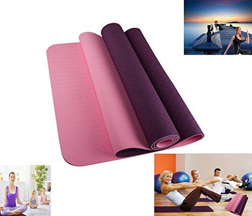 Cheap Ritayoyo Yoga Mat Non-slip Two Layer shell Chain Patten Purple No Smell Anti-bending High Density TPE with Elastic Rope and Carrying Bag