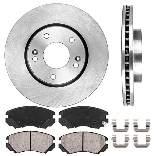 FRONT 279.7 mm Premium OE 5 Lug [2] Brake Disc Rotors + [4] Ceramic Brake Pads + Clips ()
