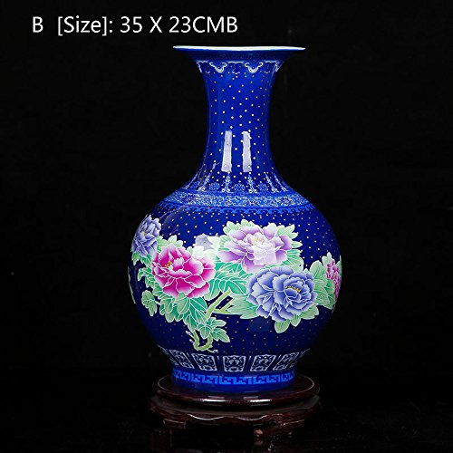 (FLYSXP Table Vase Tableware Pastel Flower Rich Home Living Room Crafts Jewelry Flower Arrangement Porcelain Home Decorations (Color : B))