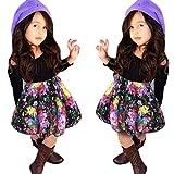 #6: Baby Girls T-shirt Tops+Floral Short Skirt, Franterd Outfit Clothes Set