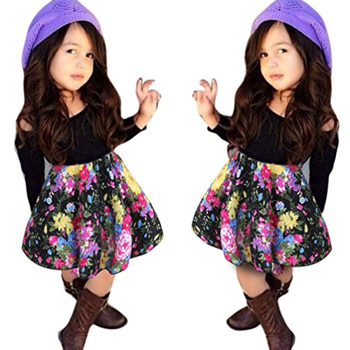 - Franterd Baby Girls T-shirt Tops+Floral Short Skirt, Outfit Clothes Set