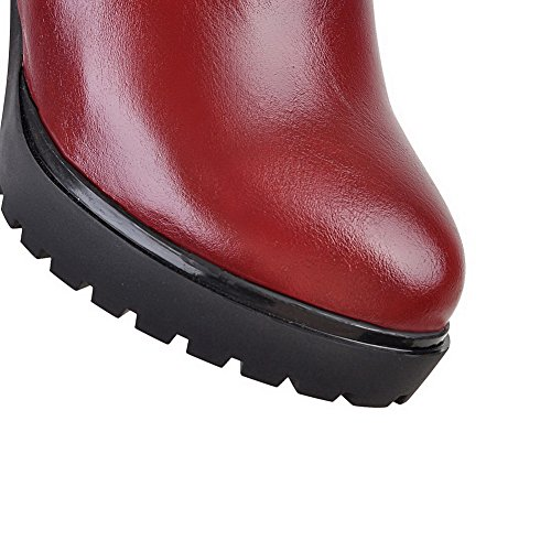top Material Boots High Claret Soft Round Women's WeiPoot Toe Solid Low Closed Heels xzPw68Cq