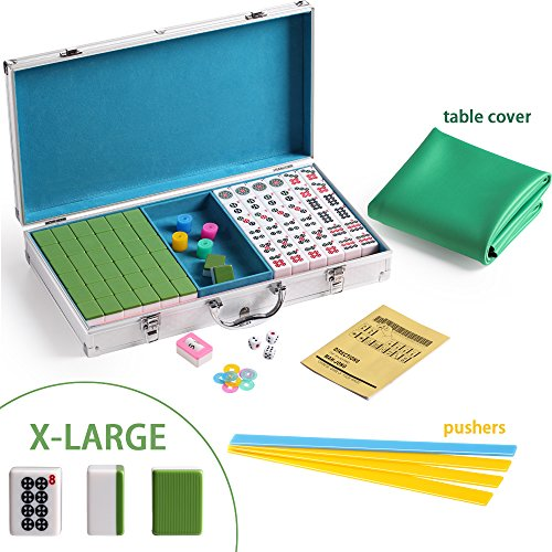 Dog Green Gift Box - X-Large Numbered Tiles Mahjong Game Set144 Dog Pattern Aluminum case Complete set with pushers & table Gift / Birthday green/red/blue Mah-Jongg, Mah Jongg, Majiang高品质麻将 green Pushers and Table Cover