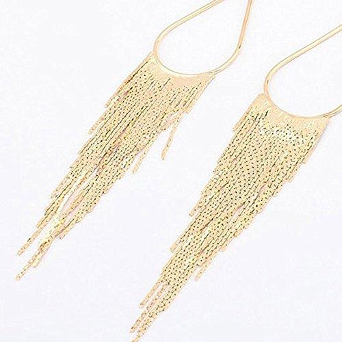 Dangle Long Tassel Women Clip on Earrings Tear Drop Chandelier Styled Gold Plated Fashion Jewelry Banquet by Chaomingzhen (Image #2)